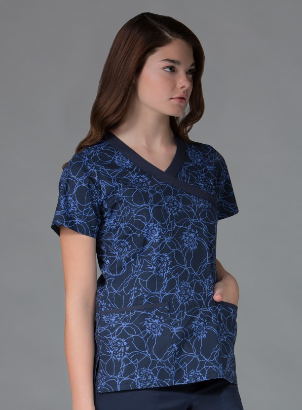 LINEAR BLOOM MOCK WRAP PRINTED TOP